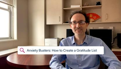 Dr. Paul Bulman, Supervising Psychologist, sitting in an office discussing anxiety and how to create a gratitude list.