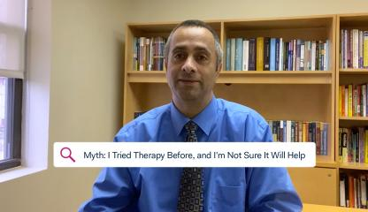 Dr. Simon Rego, Montefiore's Chief Psychologist, sitting in an office discussing the myth that therapy doesn't help.