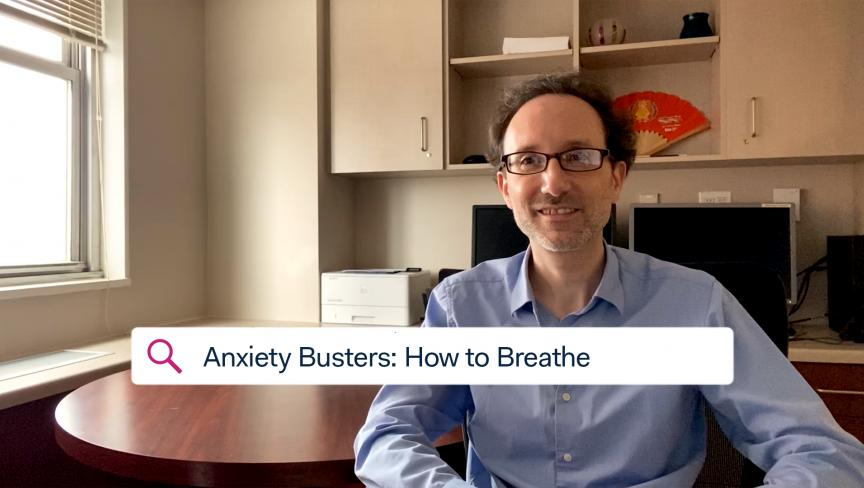 Dr. Paul Bulman, Supervising Psychologist, sitting in an office discussing COVID-19 related anxiety and how to breathe.
